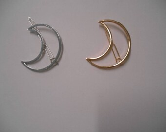 Lot of (1) Crescent Moon Phase Outline Barrette in Gold or Silver Metal