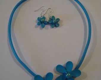 Fancy Blue Flower - necklace + earrings jewelry set