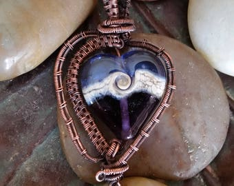 Purple and Blue Heart Pendant