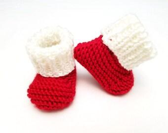 Santa Baby Booties • Santa Baby Boots • Santa Baby Shoes • Christmas Baby Booties • Pregnancy Announcement Prop  • Baby Keepsake