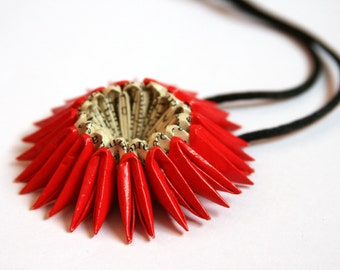 Red Origami Sunburst Necklace - Paper Necklace
