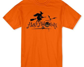 Happy Halloween Flying Witch Classic Men's Safety Orange T-shirt