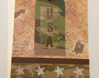 Camo birthday card etsy usa greeting card army military deployment veterans day thank you card bookmarktalkfo Image collections