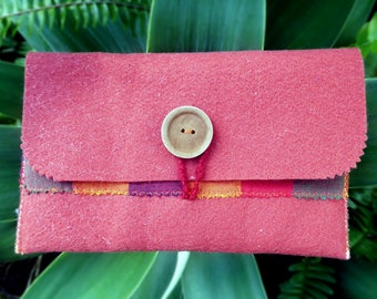 Felt wallet pouch// Maroon~rusty red// Handmade with recycled materials//