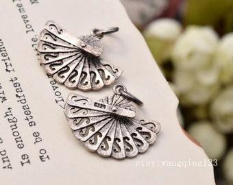 2 pcs fan charms pendants in oxidized sterling silver, JT1