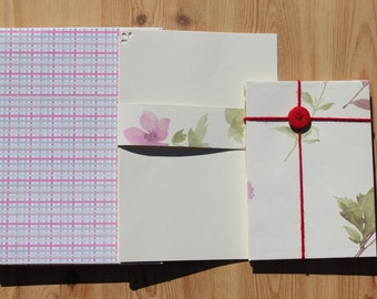 Stationery Letter Writing Set - boxed gift set of 6, writing paper, gift for her, anniversary present, birthday handmade stationery set
