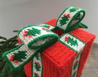 Christmas crocheted gift box Christmas decor Handmade Christmas present with a bow Holiday decor