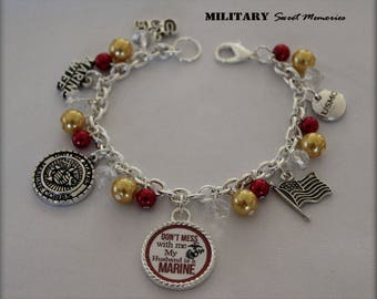 Marine Wife red and gold beaded military charm bracelet, Proud Marine Wife Jewelry, Military Wife, I love my Marine Jewelry, Marine wife