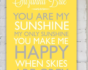 You are my sunshine New Baby Gift, Unique Keepsake for Parents, Baby Song Poster, Personalized Baby Decor, Baby Shower Gift