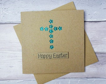 Handmade Easter card, Crucifix card, Flower gem card, Easter cross card, Religious Easter card, Christian Easter card, Happy Easter