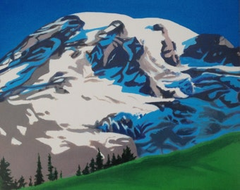 Mountain painting, Mount Rainier, Rainier, National park, Acrylic landscape, Pacific Northwest, landscape painting, Mountain print