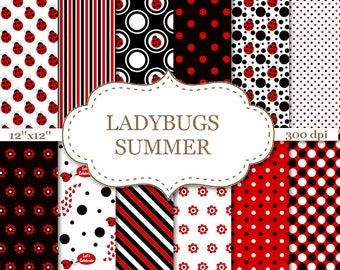 """LADYBUGS SUMMER Red and Black digital paper Ladybug papers Printables scrapbook papers Printable ladybugs Instant download 12""""x12"""" #P076"""