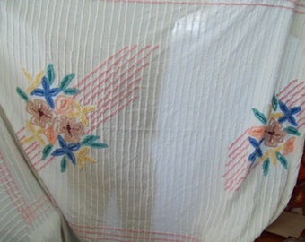 """Vintage 1950's Chenille Bedspread 106"""" x 94"""", Floral Design, Free Shipping"""