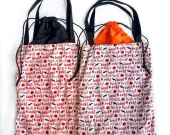 Nerditotes Handmade Handsewn Halloween Trick or Treat Drawstring Tote Bag