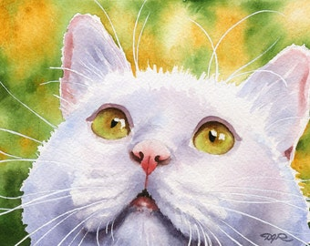 WHITE CAT Art Print Watercolor Signed by Artist DJ Rogers