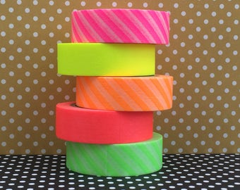MT Washi Tape Set 5 rolls, neon, washi masking tape, masking tape, Japanese washi tape, neon pink, neon art, MT brand, pink washi, Japanese