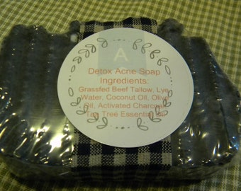 Grassfed Beef Tallow Soap Detox Acne Activated Charcoal