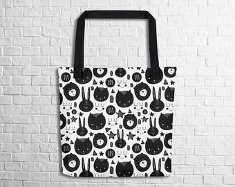 Happy Animals Doodle Tote Bag Cute Animal Art Tote Bag Animal Lovers Tote School Tote Work Tote Shopping Tote Witty Novelty