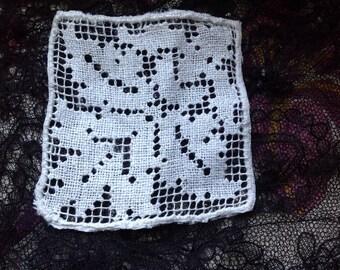 Vintage, cotton, inlay or mini square doily