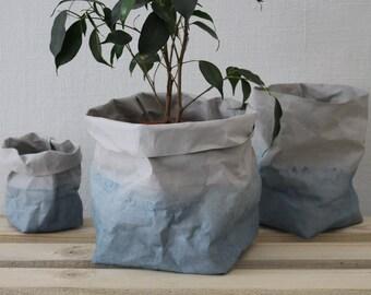 Paper bag, Blue & Grey, Indigo, washable paper bag, basket, storage, hamper, eco, sustainable, green living, minimalistic