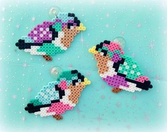 Set of 3 Spring Easter Birds Perler Art - Magnets or Window Decorations