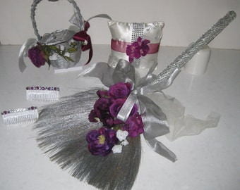 Blinged Out Silver Broom Collection with coordinating Broom, Flower Basket, Ring Bearer Cushion and Hair Accessories