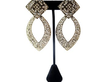 Pair of Unmarked Runway / Statement / Designer Gold Tone Metal & Clear Rhinestone Encrusted Modified Vintage Pierced Dangle Earrings