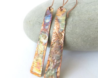 Copper Earrings, Long Copper Earrings, Copper Anniversary Gift, Flame Painted Earrings, Textured Copper, Rustic Earrings, UK Sellers Only
