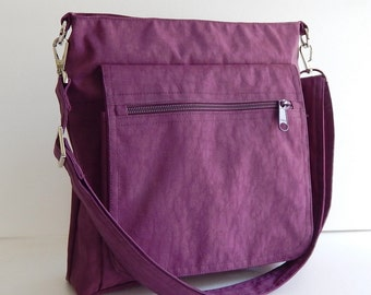 Sale - Deep Plum Water Resistant Nylon Messenger Bag - Shoulder bag, Purse, Cross body, Tote, Hip bag, Travel bag, Women - Judith