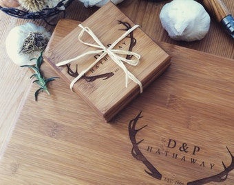 Personalized Cutting Board and Coasters Gift Set, Custom Engraved Cutting Board and Coaster Set, Wedding Gift, Engagement Present, Antlers