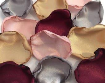 Marsala Maroon, blush pink, gold, silver mix of flower petals, Wine rose petals, Burgundy table decor, flower girl petals, wedding decor