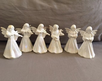Vintage Set of Six Angel Ornaments