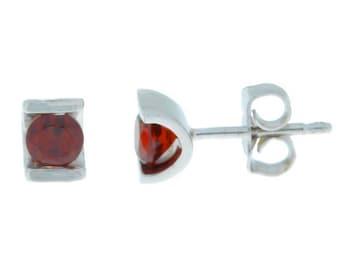 White Gold 0.50 Ct Natural Garnet Stud Earrings .925 Sterling Silver