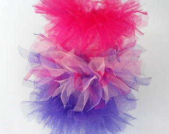 Unique tulle scrunchies. Set of soft colours 3 pcs, handmade tulle scrunchie