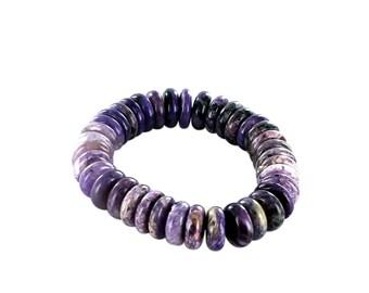 CHAROITE BEADS RONDELLE Bracelet 14.5mm New World Gems