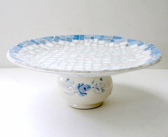SALE Blue Dessert Stand, Handmade Pedestal Dish, White and Blue Mosaic Centerpiece. Blue White Cake Stand, Blue White Mosaic Dessert Stand