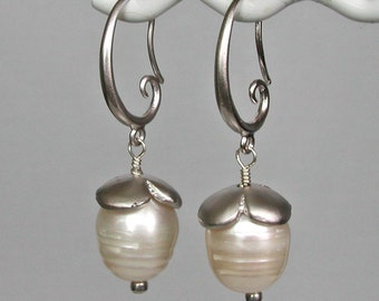 Baroque Pearls With Silver Flower Caps Earrings