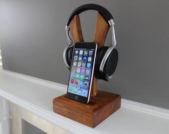 Wooden Headphone Dock With Phone Dock
