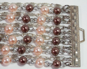 Vtg Multi Strand Pearled Bead Bracelet Silvertone & Goldtone Distal Chain Links Wide Cuff Peach Cream Brown Colors Ladies Fashion Gift Idea