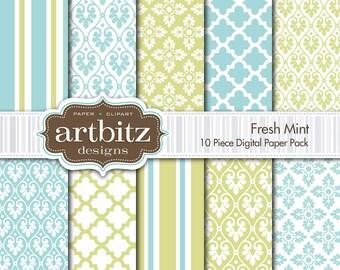 "Fresh Mint Damask 10 Piece Digital Scrapbooking Paper Pack, 12""x12"", 300 dpi .jpg, Instant Download!"