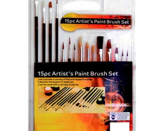 15PC  Artist Paint Brush Set. Assortment of Brushes, Long And Short, Small And Large Tips. CT3311