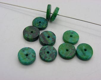 20 slices of green chrysocolla 10 mm Green and black
