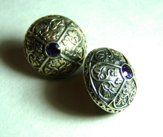 STERLING SILVER 925 ~ AMETHYST ~ Earrings ~ Button Style ~ Post Back ~ Museum Of Fine Arts, Boston ~ Vintage