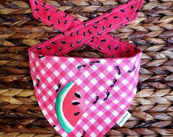 "Watermelon Picnic"" reversible tie around bandana"