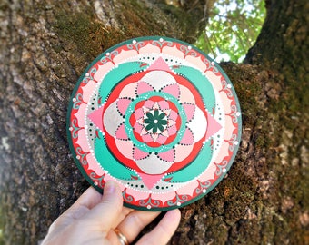 "Abstract circle painting, red and silver mandala 6"" hand painted, gifts for expectant mothers under 25 dollars, best home decor ideas."