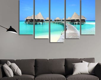 LARGE XL Bora Bora Hotel Canvas Print a Hotel in Paradise Canvas Beach, Sand, Ocean at Daytime Wall Art Print Home Decoration - Stretched