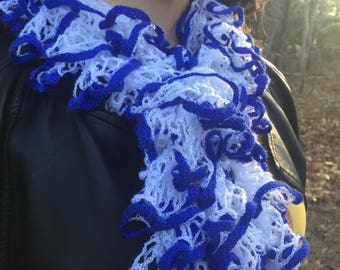 The Greek - Handknit Blue and White Ruffle Fashion Scarf