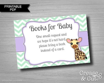 Lavender Mint Giraffe Books for Baby Book Request 3x2 Inch Cards Printable PDF Instant Download