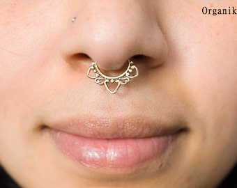 Fake septum - Brass - Septum for non pierced nose - Italian Brass