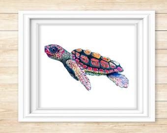 Baby Sea Turtle Watercolor Print